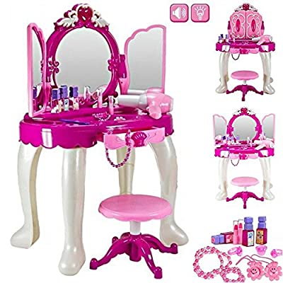 Girls Glamour Mirror Makeup Dressing Table Stool Playset Toy Vanity Light & Music Great Christmas XMAS Gift New produced by Trendi® - best deals