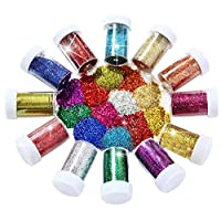 Joyclub Arts and Crafts Glitter Shaker Jars, Glitter Powder for Slime, Scrap-Booking, Body, Face, Party Invitations, Christmas Crafts, Festival Decoration - Assorted Colors multicolored JC18X04