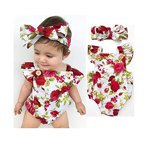 Wang-RX Cute Floral Romper Baby Girls Ropa Jumpsuit Romper + Diadema 0-24M Toddler Newborn Outfits Set
