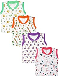 Babeezworld Baby Cotton Front Open Half Sleeves Cut Sleeve Sleeveless Vest Tshirt Jhabla Top Suitable For Girls & Boys (Kids Pack Of 4)