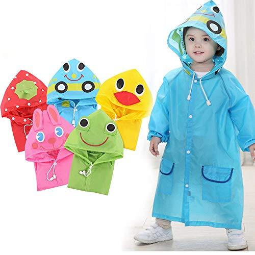asserdicht für Kinder, Cartoon-Regenbekleidung für Kinder,Tragbarer Poncho mit Kapuze für Jungen, Mädchen, Langarm-Regenmantel für Schüler zurück in die Schule, Geschenke (blau) ()