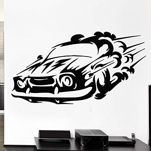 Crjzty Autorennen Sport Wandtattoo Geschwindigkeit Mann Wandbild Abnehmbare Vinyl Wandaufkleber Für Wohnzimmer Rennen Geschwindigkeit Auto Vinyl Aufkleber57x31 cm