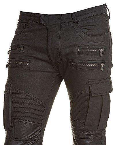 BLZ jeans - Jean geölt Ladung Reißverschluss extravaganten schwarzen Mann Schwarz