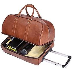 Leathario Maletas Viaje Hombre de Piel Sintetica Cuero Con Ruedas En El Avion Travel Bag Weekeed Bag Bolso Grande Para Caballeros De Negocio De Color Marron