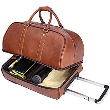 Leathario men 39 s deluxe leather luggage wheeled duffle leather travel bag trolley brown amazon for Leather luggage wheeled duffel