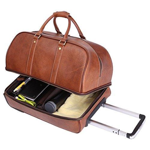 Leathario Reisetasche aus Rindsleder - Weekender XL - Koffer mit Rollen Handgepäck Trolly (Leder-koffer)