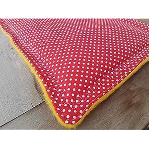 handmade – Kissen Popopolster aus Pünktchenstoff Rot genäht ca. 47 x 24 cm
