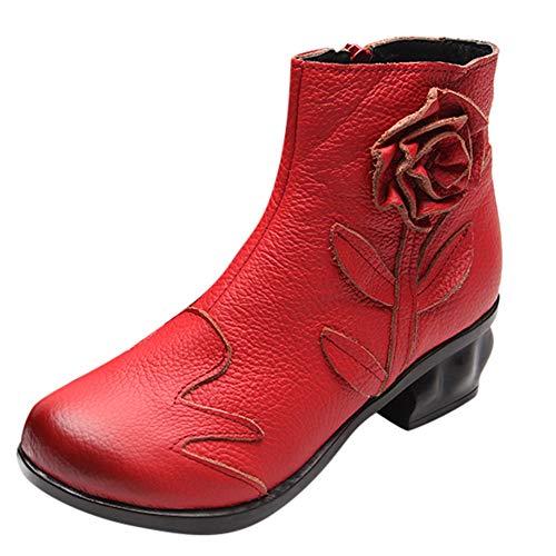 (JiaMeng Frauen Stiefeletten Leder ethnischen Stil Cyber Monday Stiefel Hand genähte Blumen Schuhe Zipper Boots)