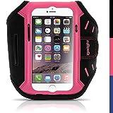 igadgitz Pink Wasserabweisend Leichtes Neopren Sports Jogging Armband Laufen Fitness Oberarmtasche für Apple iPhone 6 & 6S 4.7 Zoll mit Schlüsselfach