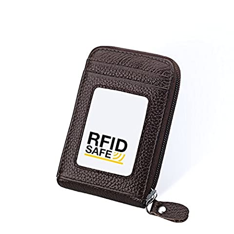 Hibate RFID Block Genuine Leather Credit Card Wallets Travel Holders Security Cases - Coffee