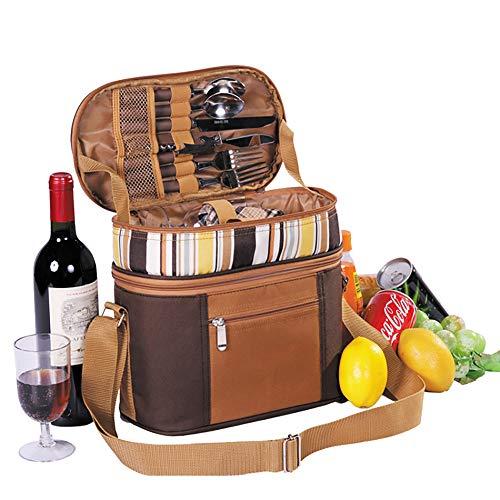 Mars Jun Picknick-Rucksack mit Picknick-Geschirr 2 Personen Viele Fächer Isolierfach Lunchtasche Besteck (Ausflugstasche, Picknick, Camping-Tasche)