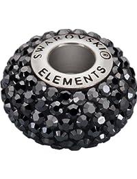 Grand Trou Perles de Verre a enfiler de Swarovski Elements 'BeCharmed Pave' 14.0mm (Jet-Hematite, Acier affiné), 1 Pièces