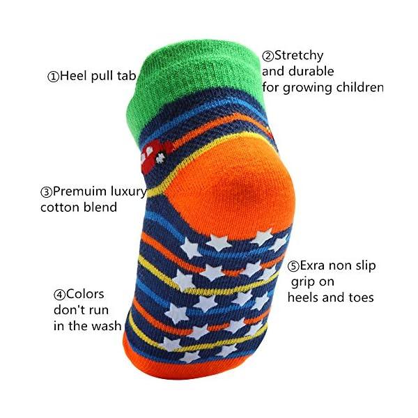 Wobon 12 Pares de Calcetines para Niño Antideslizantes Bebé Calcetines Algodón, Calcetines Antideslizantes para Niños… 2