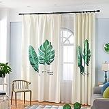 GWELL Kinderzimmer Gardinen Vorhang Baumwolle und Leinen Ösenschal Dekoschal für Wohnzimmer Schlafzimmer 225x140cm(HxB) Blatt Motiv 1er-Pack