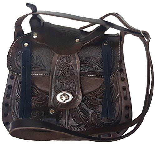 Modestone Women's Leather Schultertaschen Decorative Saddle Shape 8 1/2