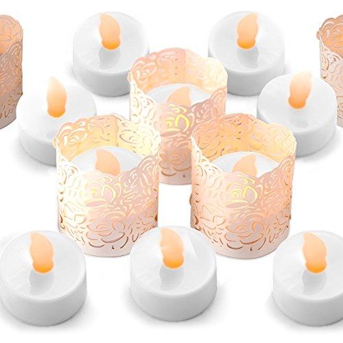 Flammenlose LED Teelicht Kerzen - Bonus Weiß Dekorative Halter Wraps enthalten, batteriebetrieben, flackernden Votive Gefälschte Teelichter - - Wrap-halter Papier