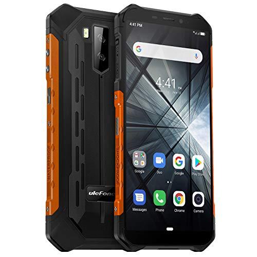 Telephone Portable Incassable Ulefone Armor X3 (2019) Android 9.0, Écran 5.5 Pouces HD+, 32Go + 2Go Batterie 5000mAh, Double SIM Nano Face ID Smartphone Pas Cher Mode sous-Marin et Gant (Orange)