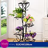 plant stand European-style Iron 5-tier Floor Flower Pot Rack, Flower Pots Shelf Holds 5-flower Pot For Indoor,outdoor, Living Room, Balcony Multi Tier Flower Shelf ( Color : Black )
