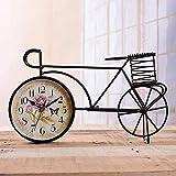 Relddd Orologio da Camino Vintage Orologio da Tavolo,Orologio da Tavolo,Creativa Orologio Muto Singola Bicicletta Orologio Ferro Arte