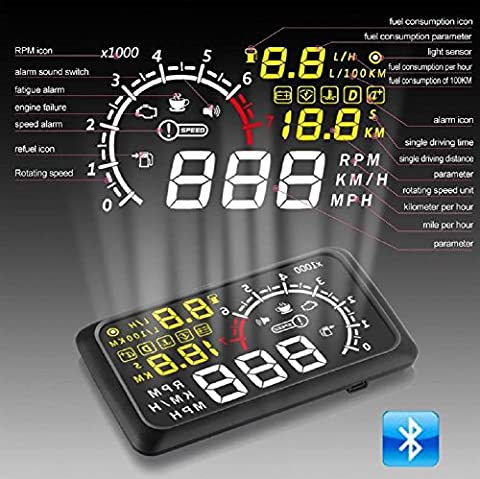 Autool 14cm X3Voiture HUD Head Up Display avec Bluetooth OBDII Speed Système d