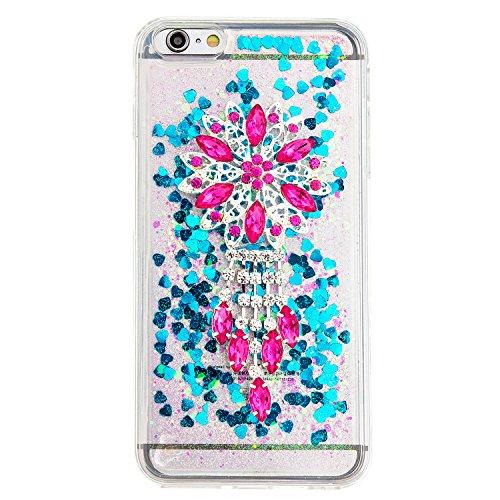 """MOONCASE iPhone 6S Plus Coque, Glitter Sparkle Bling [Owl] Faux Diamant Dessin Motif Liquide Étui Coque pour iPhone 6 Plus / 6S Plus 5.5"""" Soft TPU Gel Souple Case Housse de Protection Or 04 Bleu 01"""
