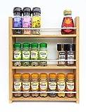SilverAppleWood Eiche massiv Spice Rack–nimmt bis zu 21Gewürz- und Kräuter Gläser–Tiefe Kapazität für größere Gläser und Flaschen–3Ebenen/Regalen