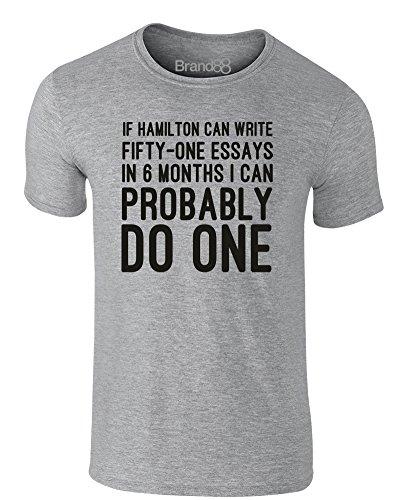 Brand88 - Essay Writer, Erwachsene Gedrucktes T-Shirt Grau/Schwarz