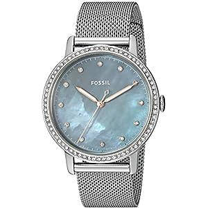 Fossil Damen Analog Quarz Uhr mit Edelstahl Armband ES4313
