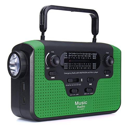 DyNamic Solarbetriebene tragbare Bluetooth Lautsprecher Audio Radio AM FM SW SD-Karte Handkurbel - Grün