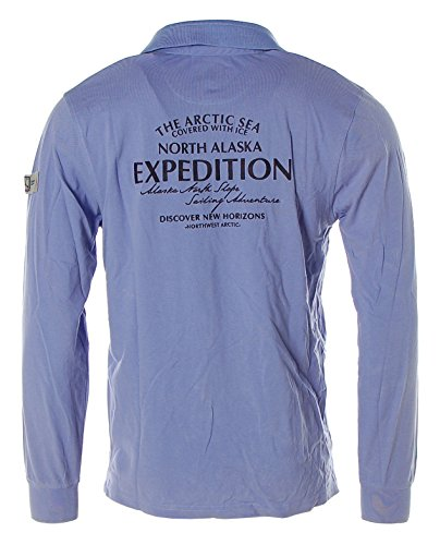 Kitaro Herren Langarm Shirt Poloshirt Pikee -North Alaska Expedition- Alaska Blue
