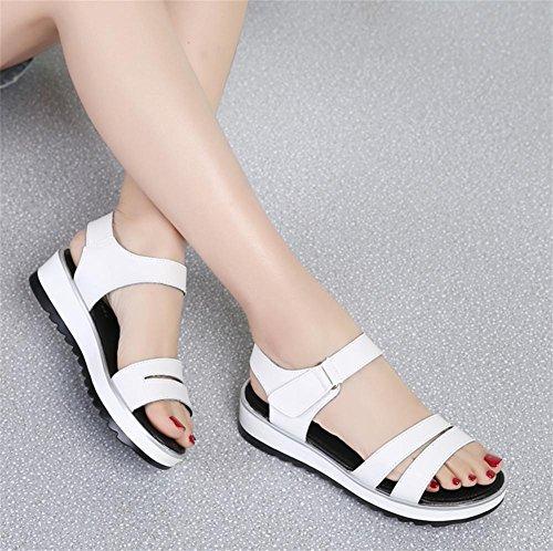 pengweiSandalen Damen flache Sommer wilde einfache Anti-Rutsch-Freizeitschuhe White