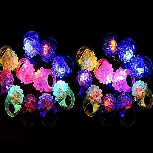 Faironly Blinkende Bunte LED-Lichter, Bumpy Gummi-Ringe Fingerspielzeug für Partys, Events, Raves, Konzert-Shows, Geschenke, zufällige Farbe