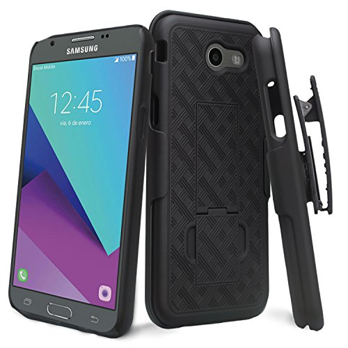 wydan Holster Combo Case für Samsung Galaxy J3Emerge Case/J32017/Prime/MISSION/Eclipse Case/Luna Pro/Sol 2/AMP Prime 2/Express Prime 2-Shell Hard Gürtel Clip Ständer Cover Schwarz (2 Galaxy Tmobile Handy)