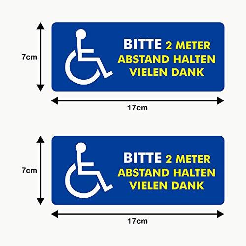 Autodomy Behindert Rollstuhlfahrer Bitte 2 Meter Abstand Halten Aufkleber Paket 2 Stück für den Internen Gebrauch Auto Van LKW (Externer Gebrauch)