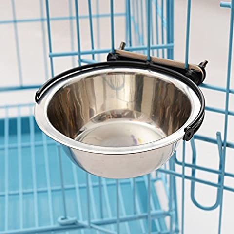 Pet Stainless Steel Bowl Hanging Fixed Anti-skid Inside and Outside Cage Feeding Drinking Water Food Bowls Dog Cat Puppy Kitty Bowls Water Basin Pet Rice Bowls Plate dog cage (S)