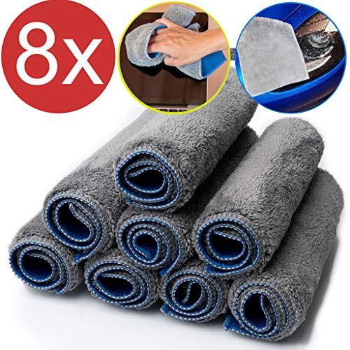 8x Mikrofaser Staubtuch Microfaser Putzlappen 29x21cm Putztuch fürs Auto Putztücher Set (blau grau, 29x22cm)