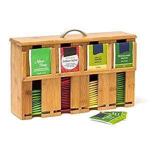 Relaxdays Boîte à thé bambou sachets thé vrac 4 compartiments coffret Déco H x l x P: 22 x 33,5 x 10 cm avec anse support de stockage, nature