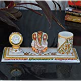 eCraftIndia Floral Marble Pen Stand with Lord Ganesha and Clock (25 cm x 10 cm x 10 cm, Golden and White)