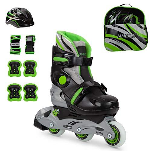 JAMBACH Kinder Inliner Inline Skates für Anfänger verstellbar Set Triskates mit Schutzset Helm Rucksack Rollschuhe Mädchen Jungen (S (30-33), grün)