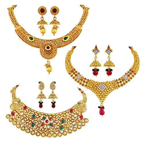 0e169f0b7185b Asmitta Traditional Jalebi Design Gold Plated Set Of 3 Choker ...