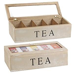 Boîte à thé Boîte à sachets de thé en bois 5 compartiments 38 x 9 x 9 cm