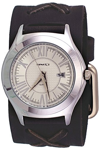 Nemesis #FXB099S Men's Roman Classic Silver Dial Wide X Cuff Leather Band Watch