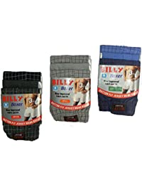 3 Pairs In 1 Pack Button Fly Jersey Mens Cotton Rich Button Boxer Shorts Check Patterned