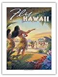 Pacifica Island Art Fliegen Sie Nach Hawaii - Hula-Tänzerinnen - Vintage Retro Hawaii Reise Plakat Poster von Kerne Erickson