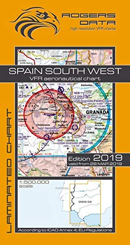 Spain South West Rogers Data VFR Luftfahrtkarte 500k: Spanien Süd West VFR Luftfahrtkarte - ICAO Karte, Maßstab 1:500.000