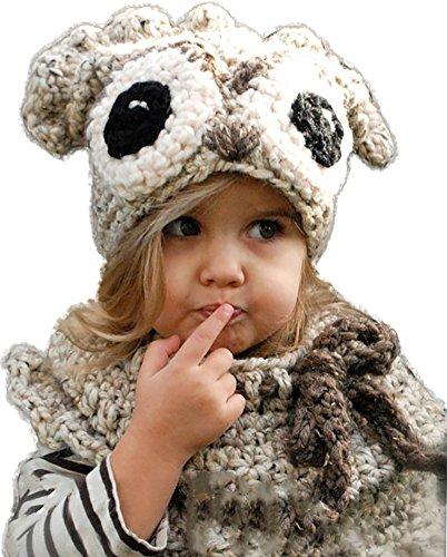 Ababalaya Kinder Junge Mädchen Schalmütze Winter Wolle Gestrickte Panda/Hase/Bär Hüte Schals Mützen Cosplay Fotografie Requisiten für 3-10 Jahre alt,Khaki Eule (Owl-hut-schal)