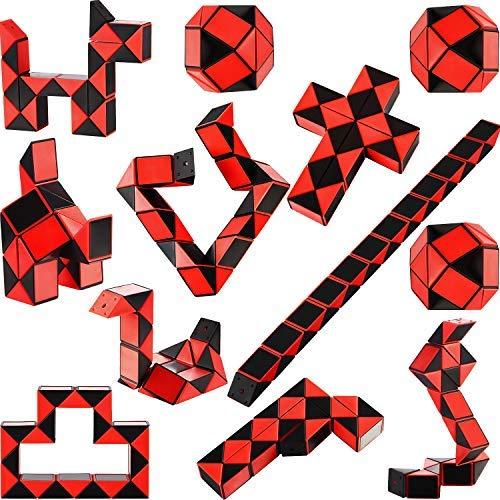 Mini Schlangen Würfel, 24 Blöcke Schlangen Würfel Puzzle Kunststoff Mini Puzzle Würfel Rätsel Drehung Würfel für Partei Tasche Füllstoff, Schwarz-Rot Farbe ()