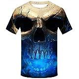jieGREAT Räumungsverkauf Lässige 3D gedruckte Totenkopf-Pullover-Bluse des Unisex-3D (Blau, L)