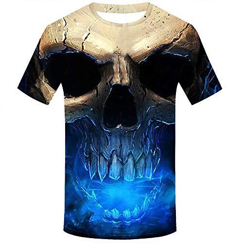 MAYOGO 3D Druck Tshirt Herren Lustig Horror Totenkopf 3D Print Oberteile Hemd Männer Lässige Kurzarm T-Shirts Round Hals Hemden Tops (Bieber Geburtstag-dekorationen Justin)