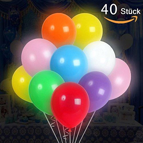 Luftballons LED Luftballon, Partyballon, Farbige Ballons, Bunte Ballons für Geburtstagsfeiern, Party, Hochzeitsfeiern (40 LED Mehrfarbig)